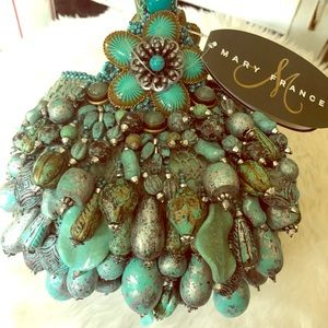 Mary Frances Patina turquoise Handbag Purse NWT